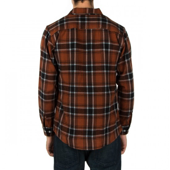 Brixton Bowery Long Sleeve Flannel Shirt - Rust