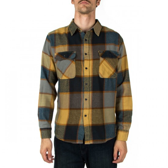 Brixton Bowery Long Sleeve Flannel Shirt - Yellow/Charcoal