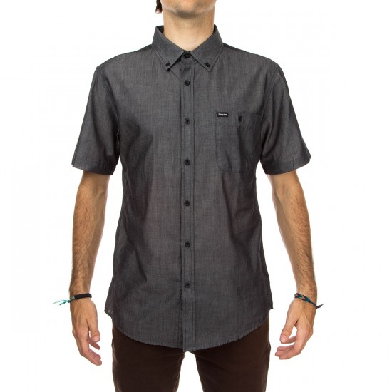 Brixton Central Short Sleeve Woven Shirt - Black Chambray