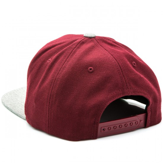Brixton Grade Snapback Hat - Burgundy/Heather Grey