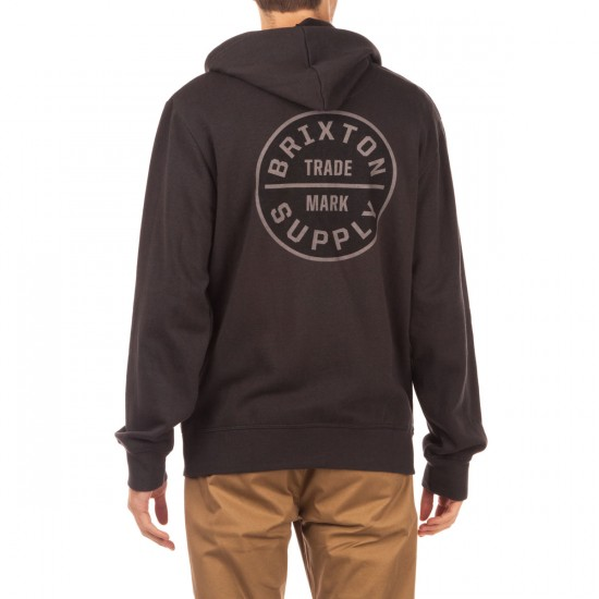 Brixton Oath Zip Hood Fleece Hoodie - Black/Grey