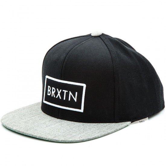 Brixton Rift Snapback Hat - Black/Light Heather Grey