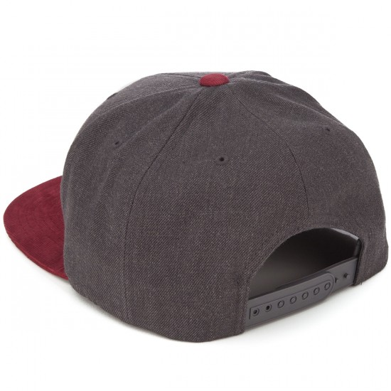 Brixton Rival Snapback Hat - Charcoal/Burgundy