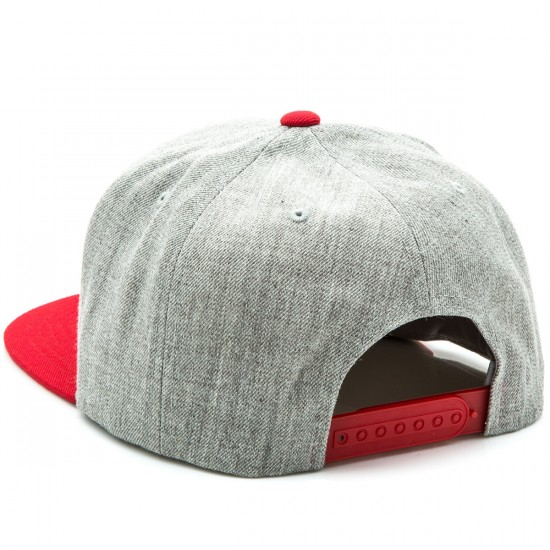 Brixton Rival Snapback Hat - Light Heather Grey/Red