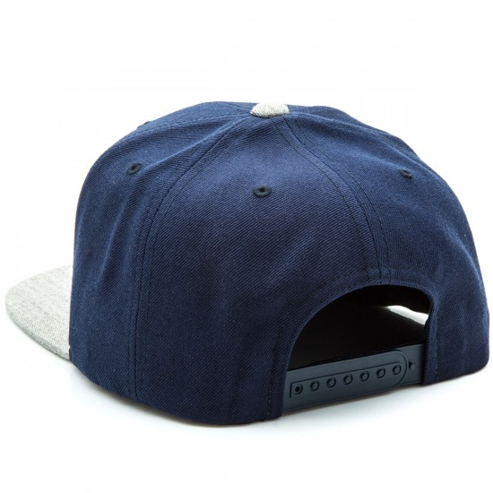 Brixton Rival Snapback Hat - Navy/Light Heather Grey