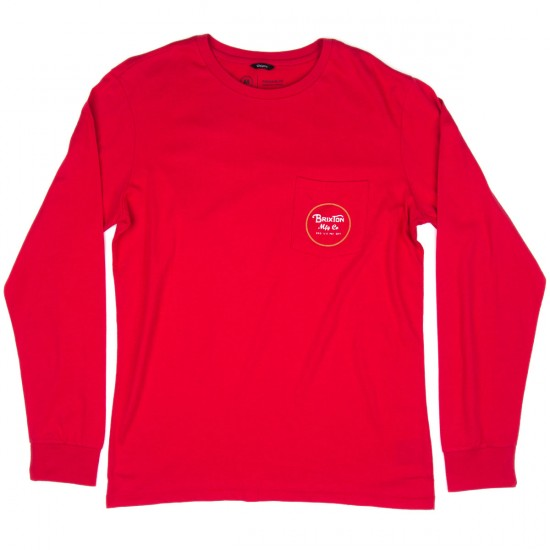 Brixton Wheeler Long Sleeve Pocket T-shirt - Red