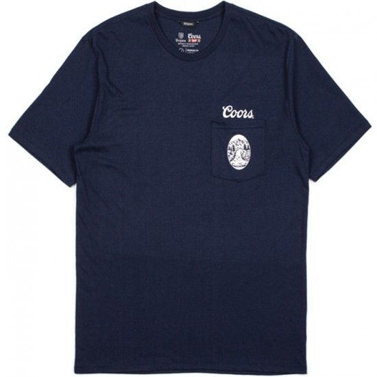 Brixton X Coors Filtered Premium T-Shirt - Washed Navy