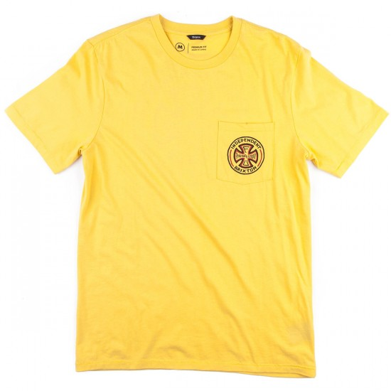 Brixton X Independent Fillmore Short Sleeve Premium T-Shirt - Washed Yellow