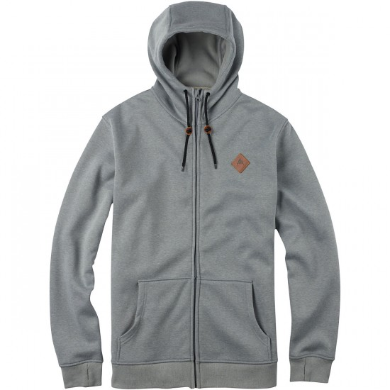 Burton Distill Zip-Up Hoodie - Pewter Heather