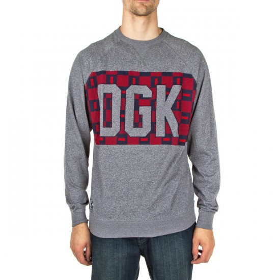 DGK Checkers Custom Knit Sweatshirt - Gun Metal Heather