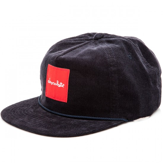 Chocolate Red Square Cord 5 Panel Snapback Hats - Navy