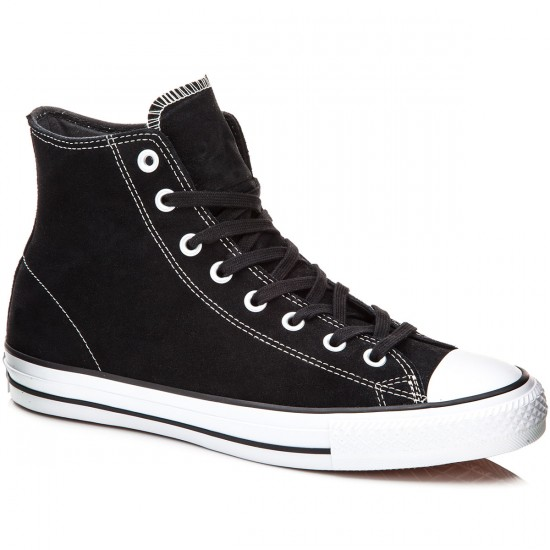 Converse CTAS Pro Hi Shoes - Black/White Suede - 7.5