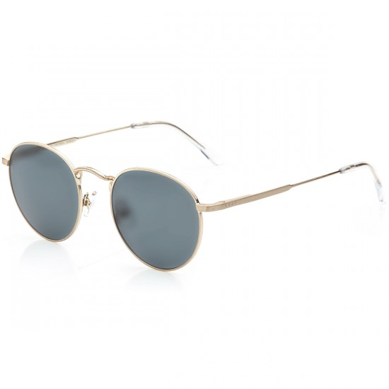Crap Eyewear The Tuff Patrol Sunglasses - Brushed Gold Wire & Crystal Clear Tips/Polarized Grey