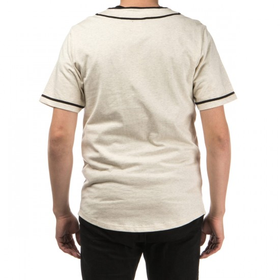 Crooks and Castles Maison Knit Baseball Short Sleeve Jersey - Heather Oatmeal