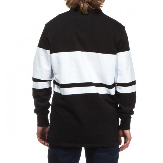 Crooks and Castles Selector Long Sleeve Rugby Shirt - Black/White