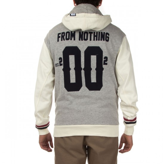 DGK From Nothing Hooded Letterman Fleece Jacket - Athletic Heather