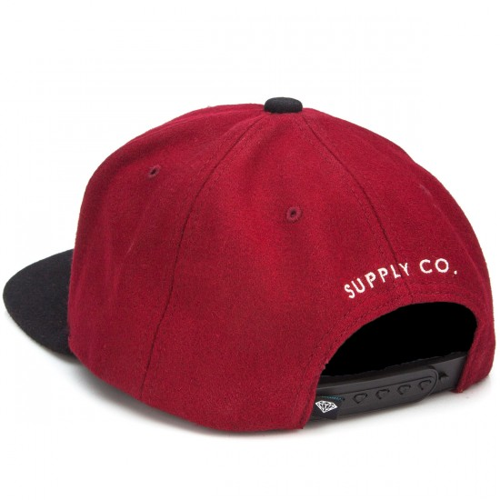 Diamond Supply Co. College Snapback Hat - Dark Red