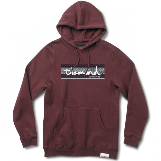 Diamond Supply Co. Fairisle Box Logo Hoodie - Burgundy