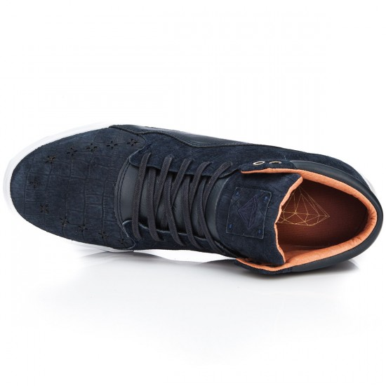 Diamond Supply Co. Folk Mid Shoes - Navy/Croc Suede - 10.0