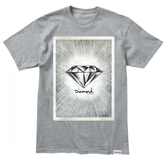 Diamond Supply Co. News Print T-Shirt - Heather Grey