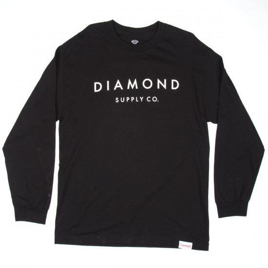 Diamond Supply Co. Stone Cut Long Sleeve T-Shirt - Black
