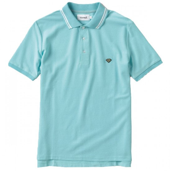 Diamond Supply Co. Stripe Collar Polo Shirt - Diamond Blue