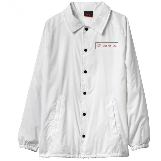 Diamond Supply Co. Boxed In Coach's Jacket - White