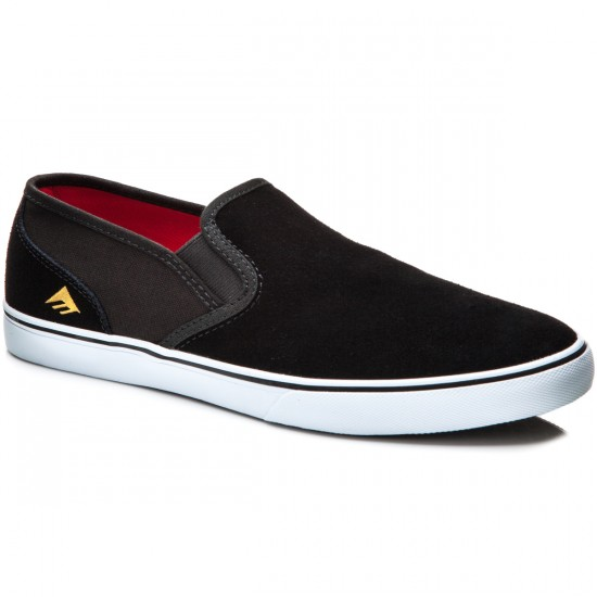 Emerica Provost Cruiser Slip Shoes - Black/White Suede - 11.0
