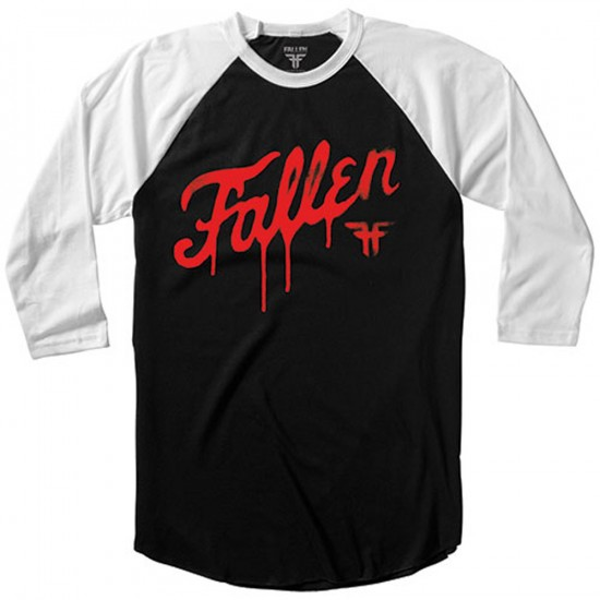 Fallen DIY Fury 3/4 Raglan T-Shirt - Black/Blood Red