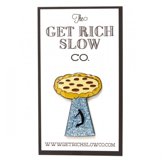 Get Rich Slow Pizza Abduction Enamel Pin - Multi