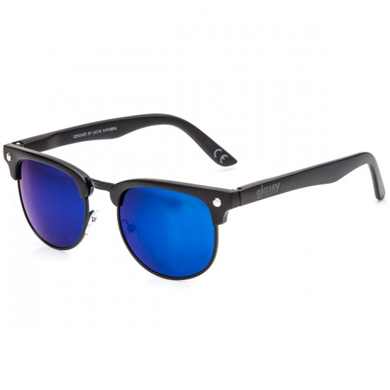 Glass Morrison Polarized Sunglasses - Black/Blue Mirror