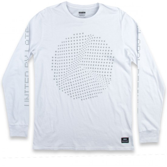Globe B Dot Matrix Long Sleeve T-Shirt - White