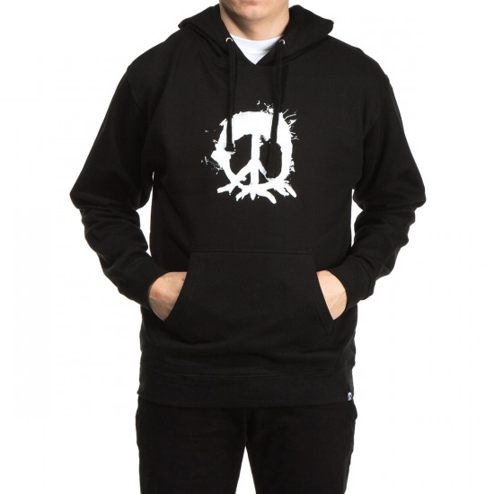 Gnarly Splatter Tree Pullover Hoodie - Black