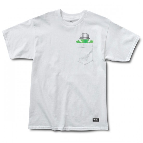 Grizzly Grip Bucket Bear Pocket T-Shirt - White