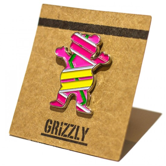 Grizzly Grip Hover Bear Pin - Pink