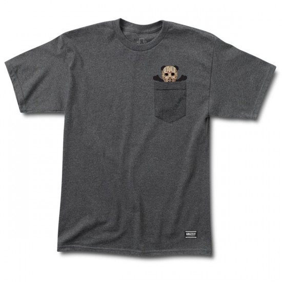 Grizzly Grip Nightmare Pocket T-Shirt - Charcoal Heather