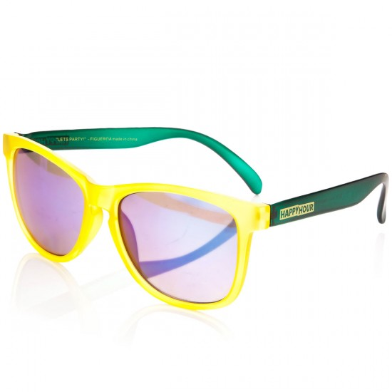 "Happy Hour Justin ""Figgy"" Figuroea Figgy's ICV Sunglasses - Yellow Frost/Dark Green Forest"
