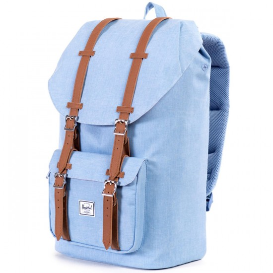 Herschel Little America Backpack - Chambray Crosshatch/Tan Synthetic Leather
