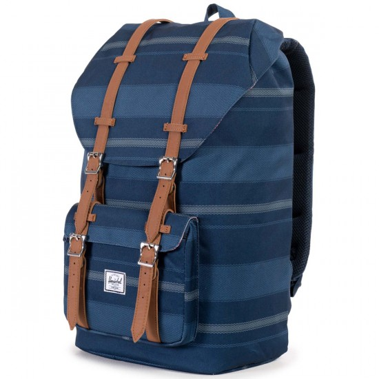 Herschel Little America Backpack - Navy Fouta/Tan Synthetic Leather