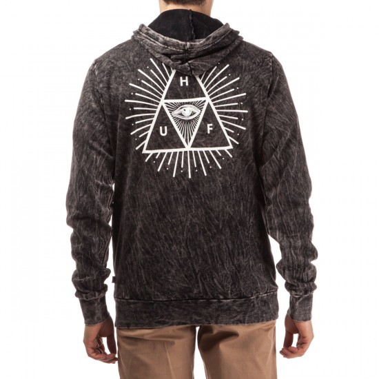 HUF Third Eye Triangle Acid Wash Pullover Hoodie - Black