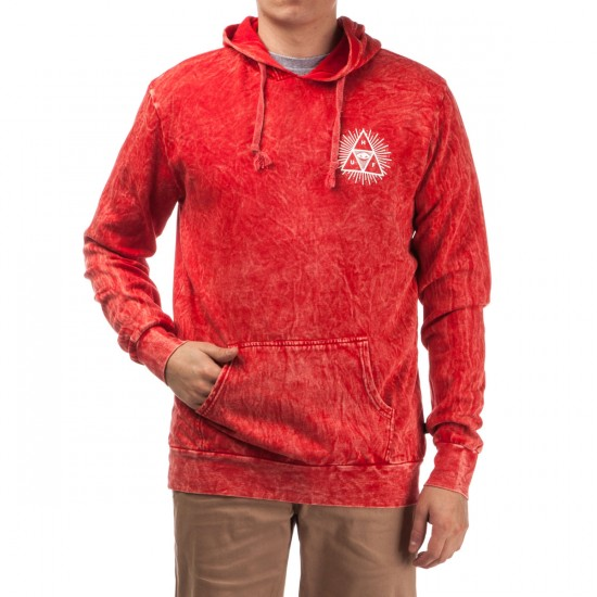HUF Third Eye Triangle Acid Wash Pullover Hoodie - Red