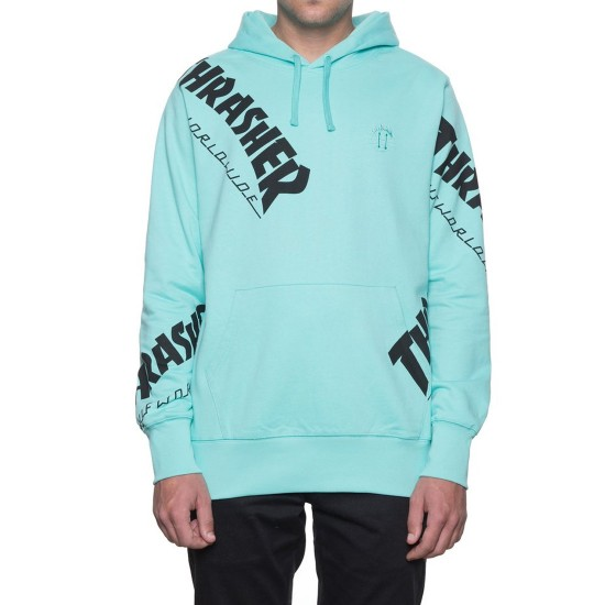HUF X Thrasher Tour de Stoops All Over Hoodie - Mint