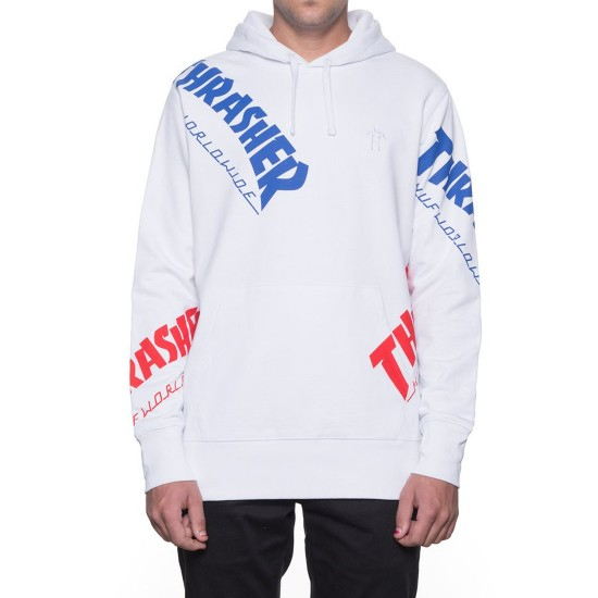 Huf X Thrasher Tour De Stoops All Over Hoodie White