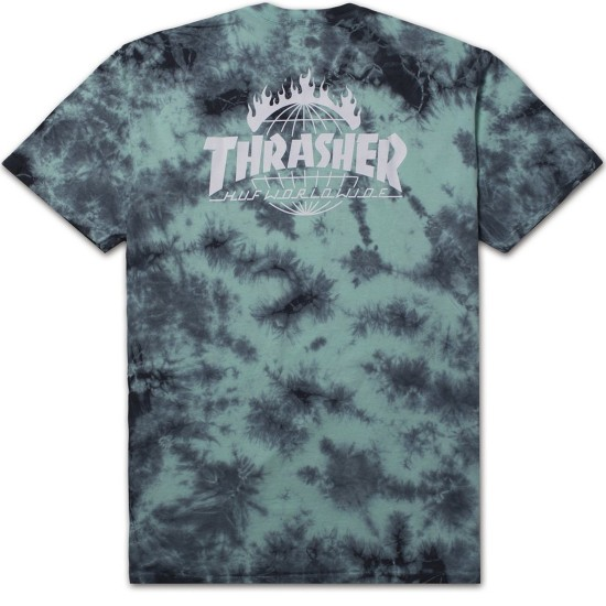 HUF X Thrasher Tour de Stoops Crystal Wash T-Shirt - Mint