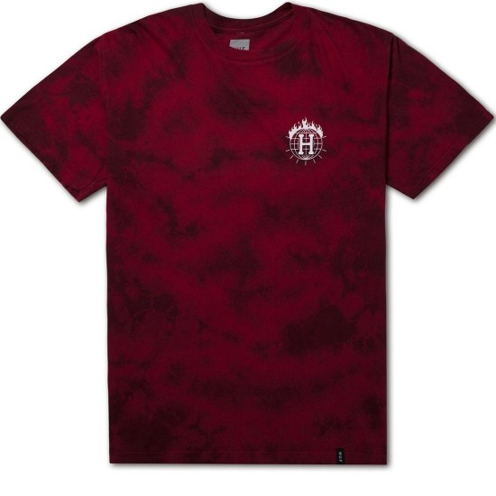 HUF X Thrasher Tour de Stoops Crystal Wash T-Shirt - Red