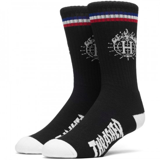 HUF X Thrasher Tour de Stoops Sock and Can - Black