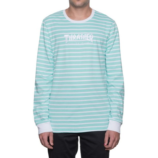 HUF X Thrasher Tour de Stoops Stripe Crew Long Sleeve T-Shirt - Mint