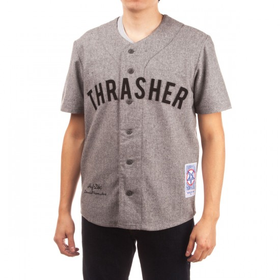 HUF X Thrasher Vintage Baseball Jersey Shirt - Grey Heather