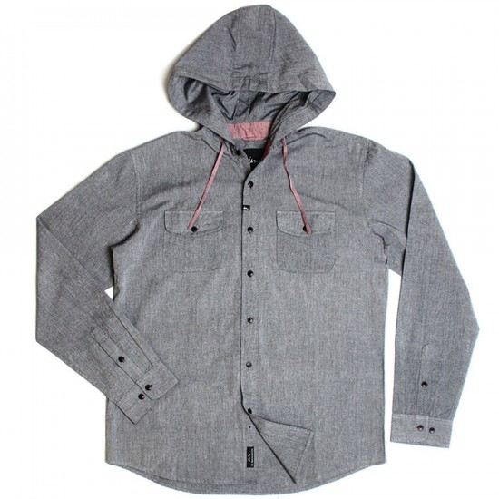 Imperial Motion Clyde Hooded Long Sleeve Chambray Shirt - Black