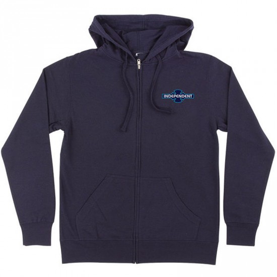 Independent Grindem Down Zip Hoodie - Navy